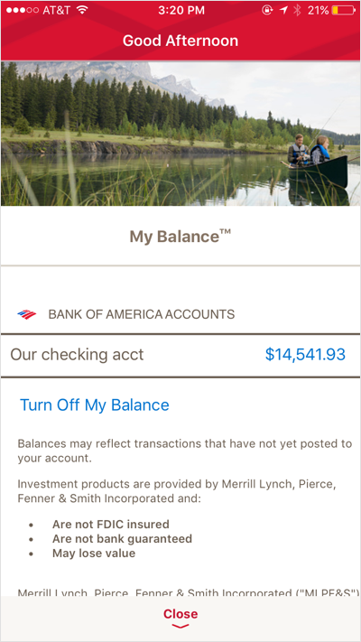 This image details the interface of the Bank of America mobile application. You can see your checking account balances, your transactions and other balances.