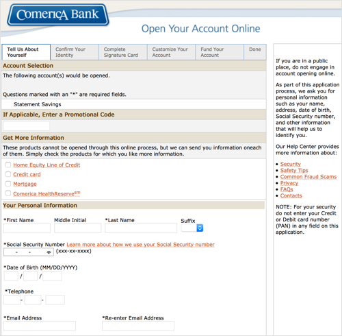 This image details the Comerica account application page.