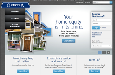 This image details the Comerica homepage.