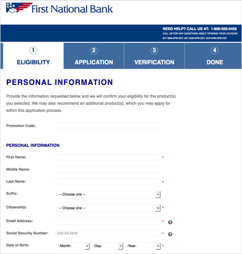 This page details a page of the First National Bank Application process.