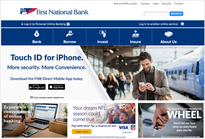 This image details the First National Bank homepage.