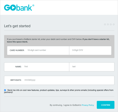 This image details GoBank's account application page.