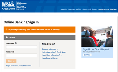 This images details the NFCU sign-in page.