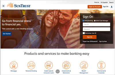 This image details the SunTrust Bank homepage.